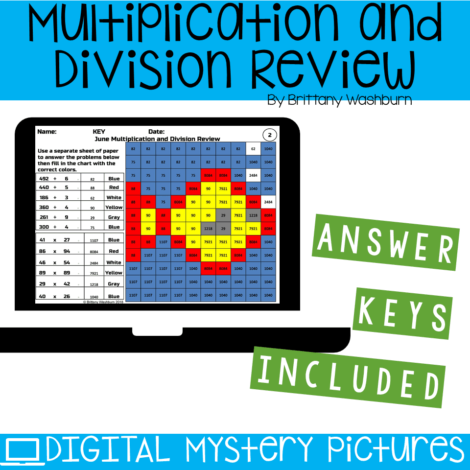 June Themed Multiplication and Division Practice DIGITAL Mystery ...