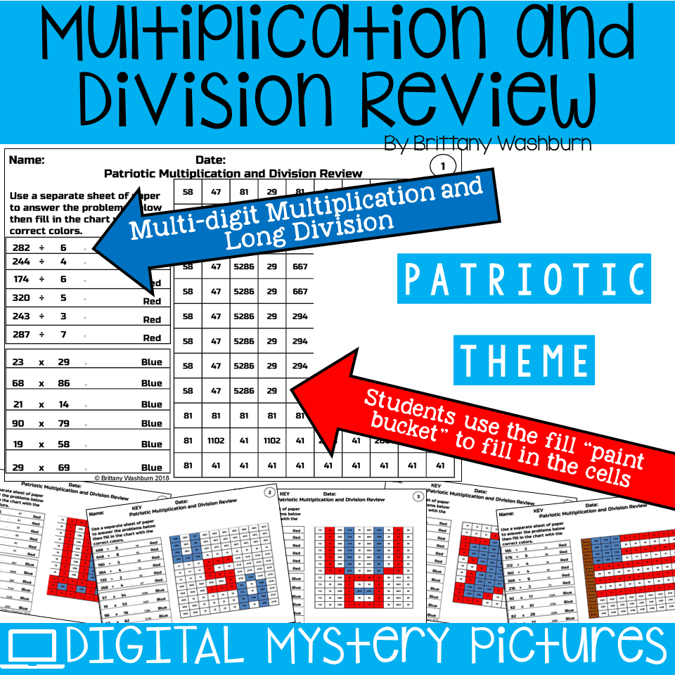 Patriotic Themed Multiplication and Division Practice DIGITAL ...