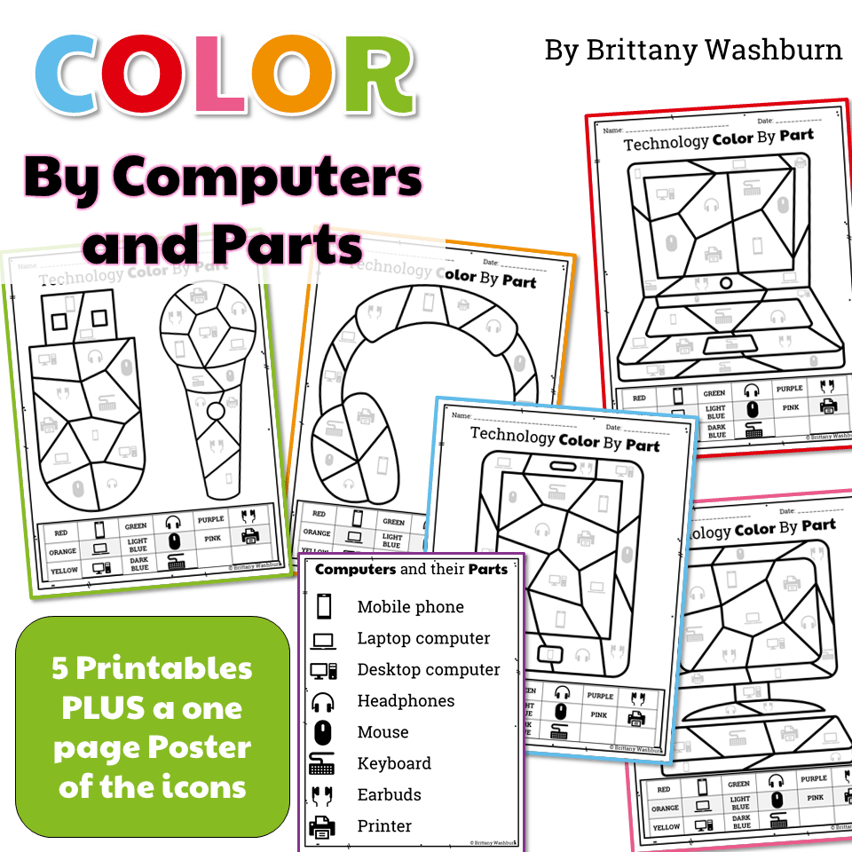 graphic about Printable Technology identified as Engineering Colour As a result of Pcs and Elements Printable Worksheets