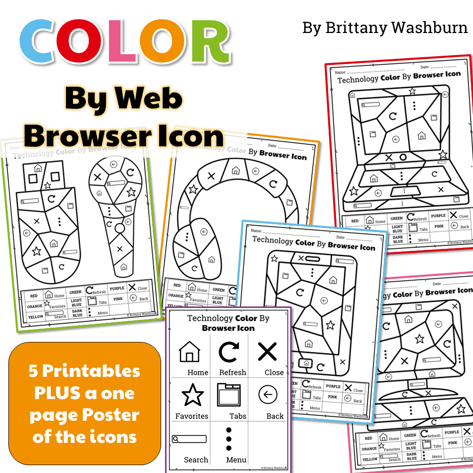 Technology Color By Web Browser Icons Printable Worksheets What Is A Diagram Description