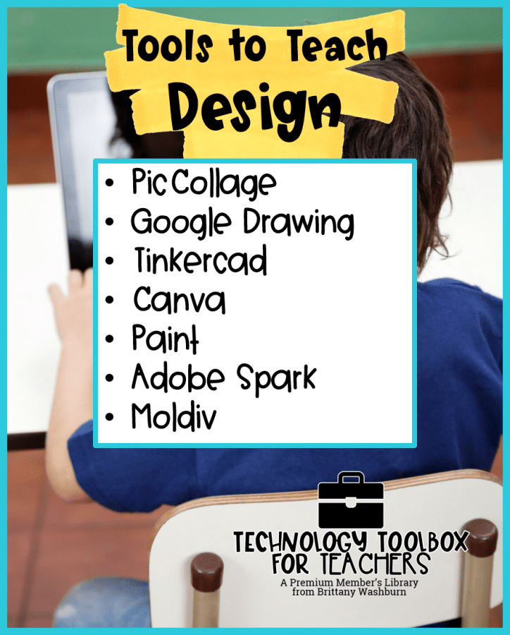 List of technology tools, apps, and websites categorized for teachers.